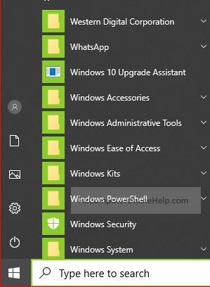 left click on windows start button