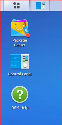 synology screen after initial login